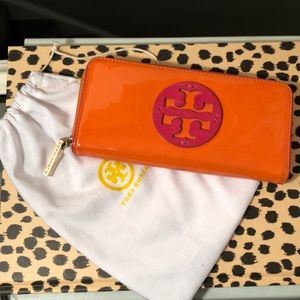 Tory Burch Orange/Pink Patent Wallet